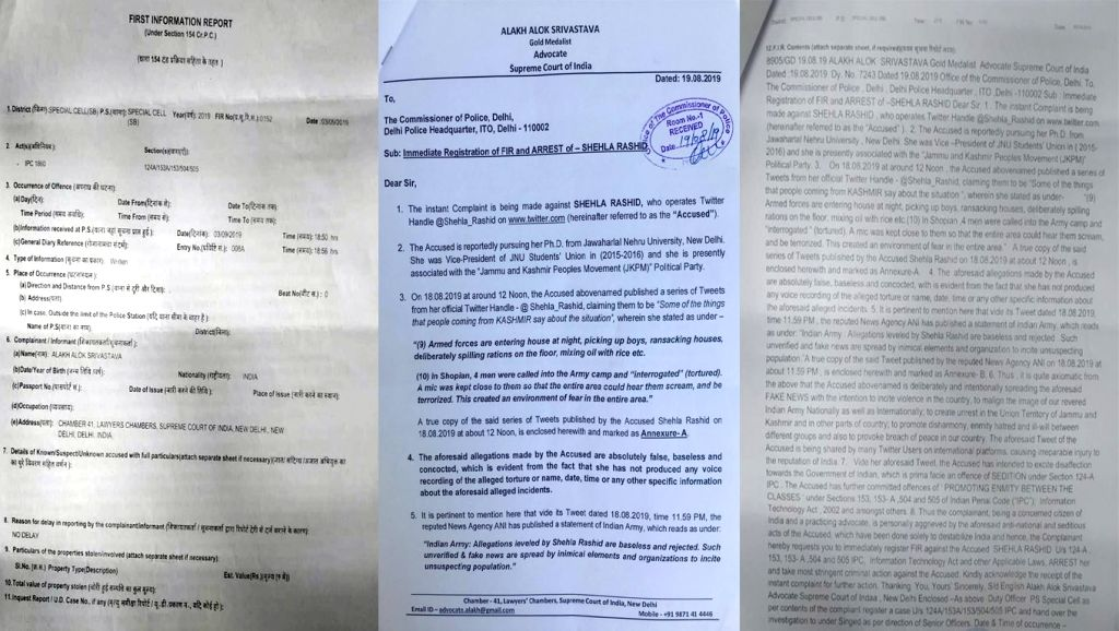 Kashmiri activist Shehla Rashid was booked on Friday for sedition over her comments about alleged human rights violations in Jammu and Kashmir. The Delhi Police's Special Cell said that the the FIR ...