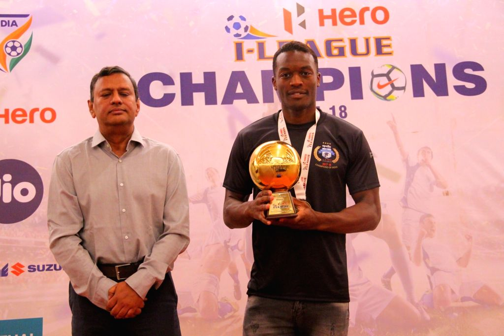 Kassim Aidara of Minerva Punjab FC during the presentation ceremony of I-League in Chandigarh on March 22, 2018. Minerva Punjab FC created history by defeating Churchill Brothers FC 1-0 ...