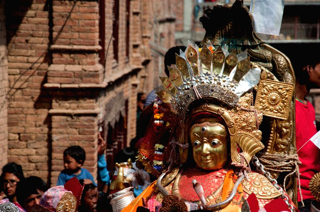A idol of Bajrayogini is seen during the Bajrayogini festival, a significant festival of Sankhu, on the outskirts of Kathmandu, Nepal, April 18, 2014. The ...