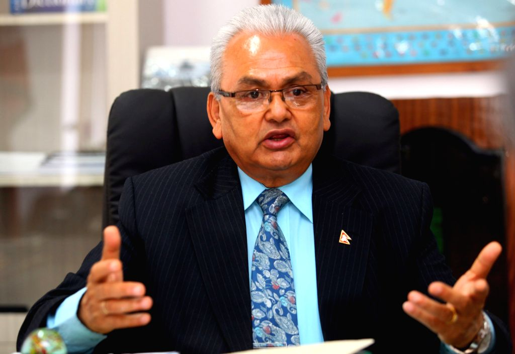 KATHMANDU, April 20, 2016 - File photo taken on May 11, 2015 shows Nepalese former foreign minister Mahendra Bahadur Pandey speaking during an interview by Xinhua in Kathmandu, Nepal. Nepal's former ... - Mahendra Bahadur Pandey