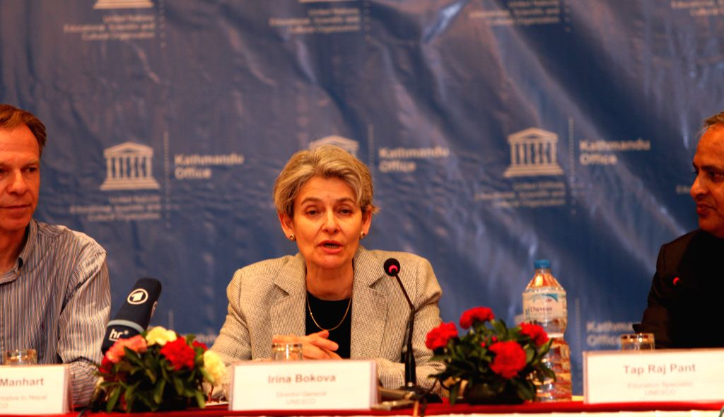 KATHMANDU, April 20, 2016 - Irina Bokova, United Nations Educational, Scientific and Cultural Organization (UNESCO) Director General, addresses the press meet organized to wrap up her three-day ...