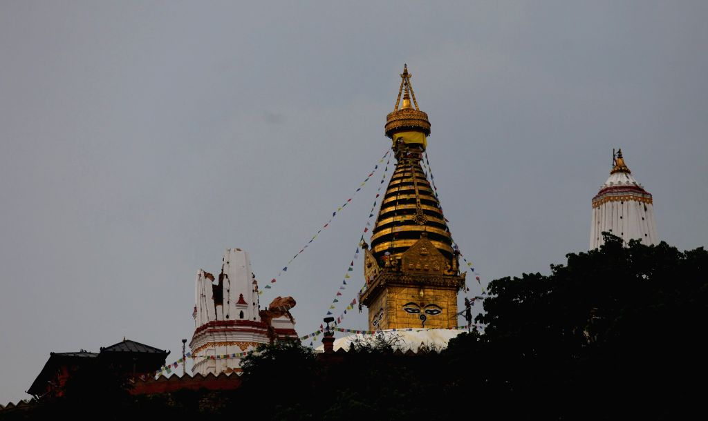 Photo taken on April 28, 2015 shows stupas near Swayambhunath temple after the earthquake in Kathmandu, Nepal. The death toll from a powerful earthquake in Nepal ...