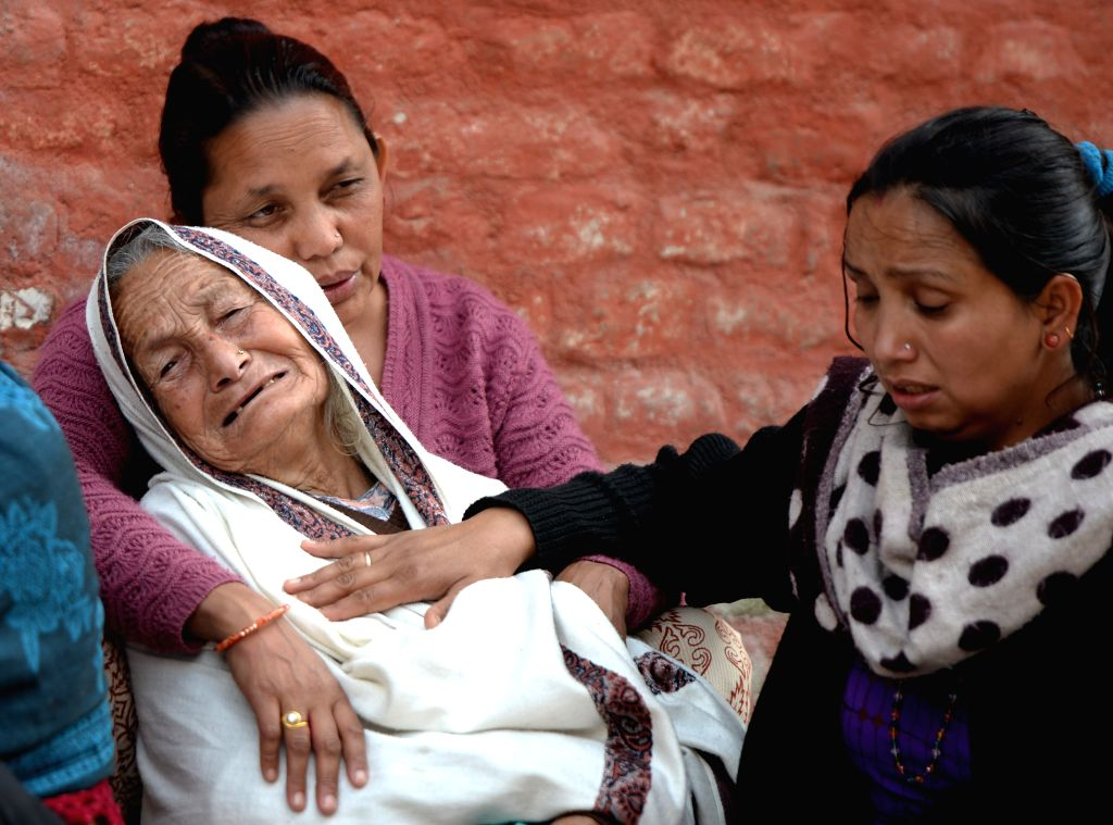 Relatives mourn during the funerals of the earthquake victims in Kathmandu, Nepal, April 29, 2015. The 7.9-magnitude quake hit Nepal at midday on Saturday. The ...