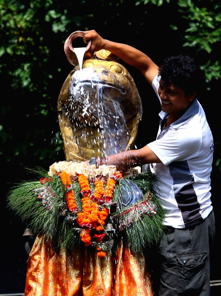 A priest offers cow's milk to the golden statue of a snake at Nag Pokhari celebrating Nag Panchami, the snake day festival, in Kathmandu, Nepal, on Aug. 1, 2014. ..