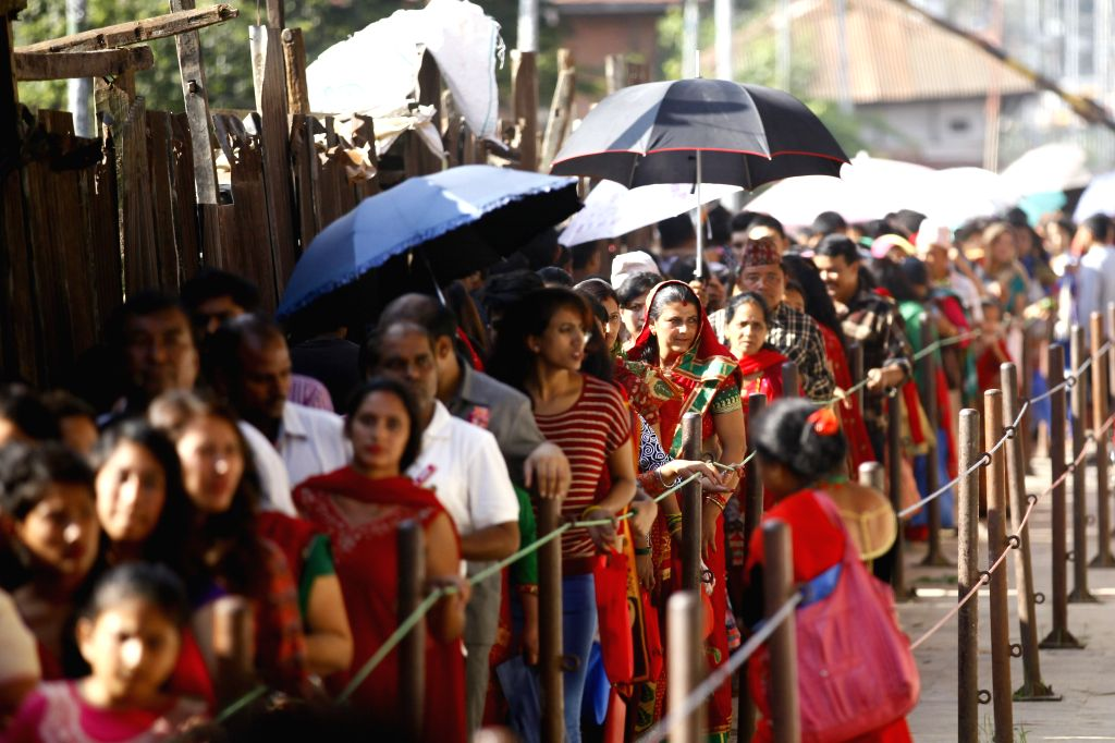 KATHMANDU, Aug. 15, 2016 - Hindu devotees queue up to offer prayers on the last day of Shrawan Somvar at Pashupatinath Temple in Kathmandu, Nepal, Aug. 15, 2016. Mondays, or Somvar, in the month of ...