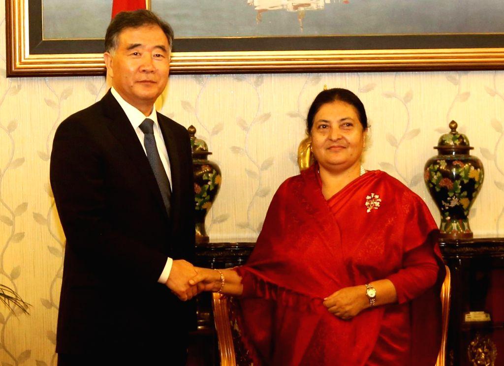 KATHMANDU, Aug. 16, 2017 - Nepalese President Bidhya Devi Bhandari (R) meets with Chinese Vice Premier Wang Yang in Kathmandu, Nepal, Aug. 16, 2017.