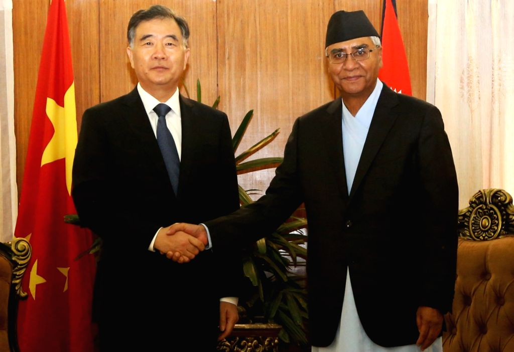KATHMANDU, Aug. 16, 2017 - Nepalese Prime Minister Sher Bahadur Deuba (R) meets with Chinese Vice Premier Wang Yang in Kathmandu, Nepal, Aug. 16, 2017. - Sher Bahadur Deuba