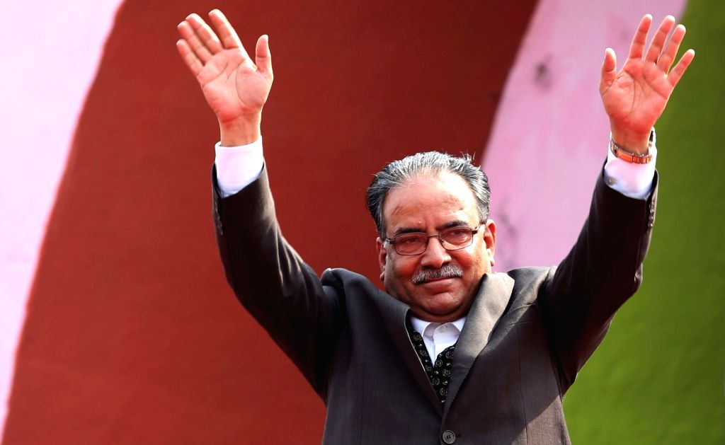 KATHMANDU, Aug. 2, 2016 - File photo taken on March 3, 2016 shows CPN (Maoist-Center) Chairman Pushpa Kamal Dahal waving hands to supporters during a Nepali Congress convention. CPN (Maoist-Center) ...