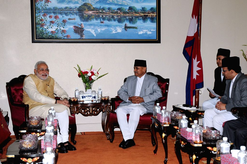 Nepal's President Ram Baran Yadav (2nd L) meets with visiting Indian Prime Minister Narendra Modi (L) at President's office at Shital Niwas in Kathmandu, Nepal, ... - Narendra Modi, Baran Yadav and Inder Kumar Gujral