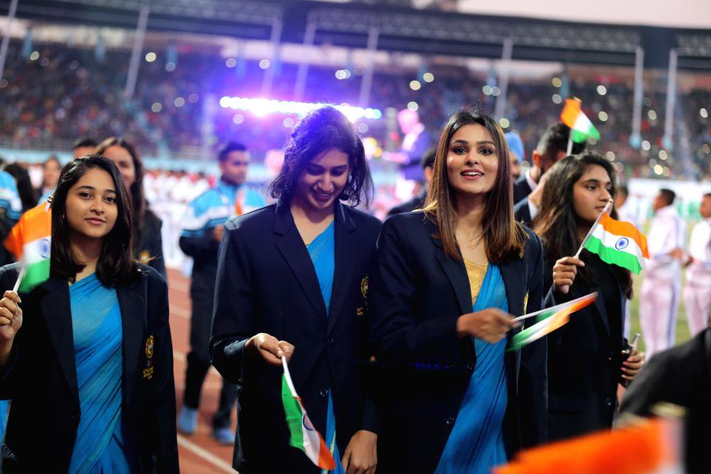KATHMANDU, Dec. 2, 2019 (Xinhua) -- Players of delegation of India march during the inauguration of 13th South Asian Games in Kathmandu, Nepal, Dec. 1, 2019. (Xinhua/Zhou Shengping/IANS)