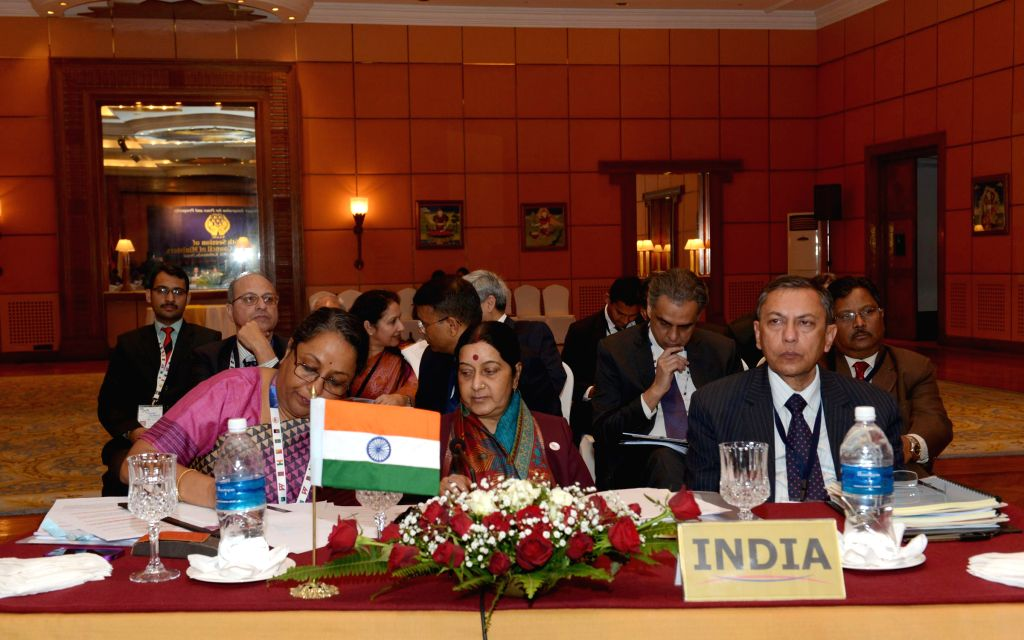 External Affairs Minister Sushma Swaraj during a SAARC meeting in Kathmandu, Nepal on Nov 25, 2014. Also seen Foreign Secretary Sujatha Singh. - Secretary Sujatha Singh