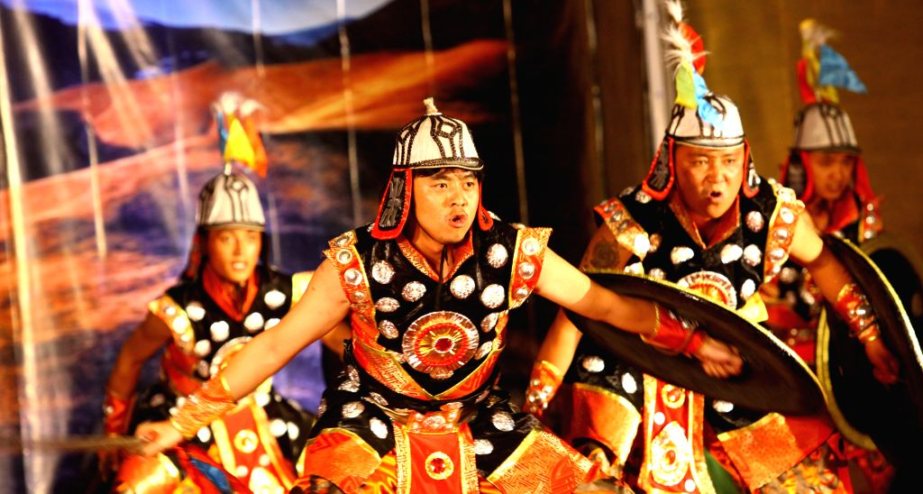 Actors perform during a cultural show organized to mark the Chinese Tibetan Losar in Kathmandu, Nepal, Feb. 12, 2015.