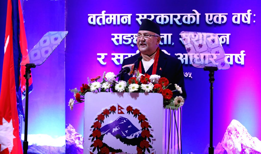 KATHMANDU, Feb. 14, 2019 - Nepal's Prime Minister KP Sharma Oli speaks during his address to nation at Singhadurbar in Kathmandu, Nepal, Feb. 14, 2019. Oli addressed the nation marking the completion ... - K