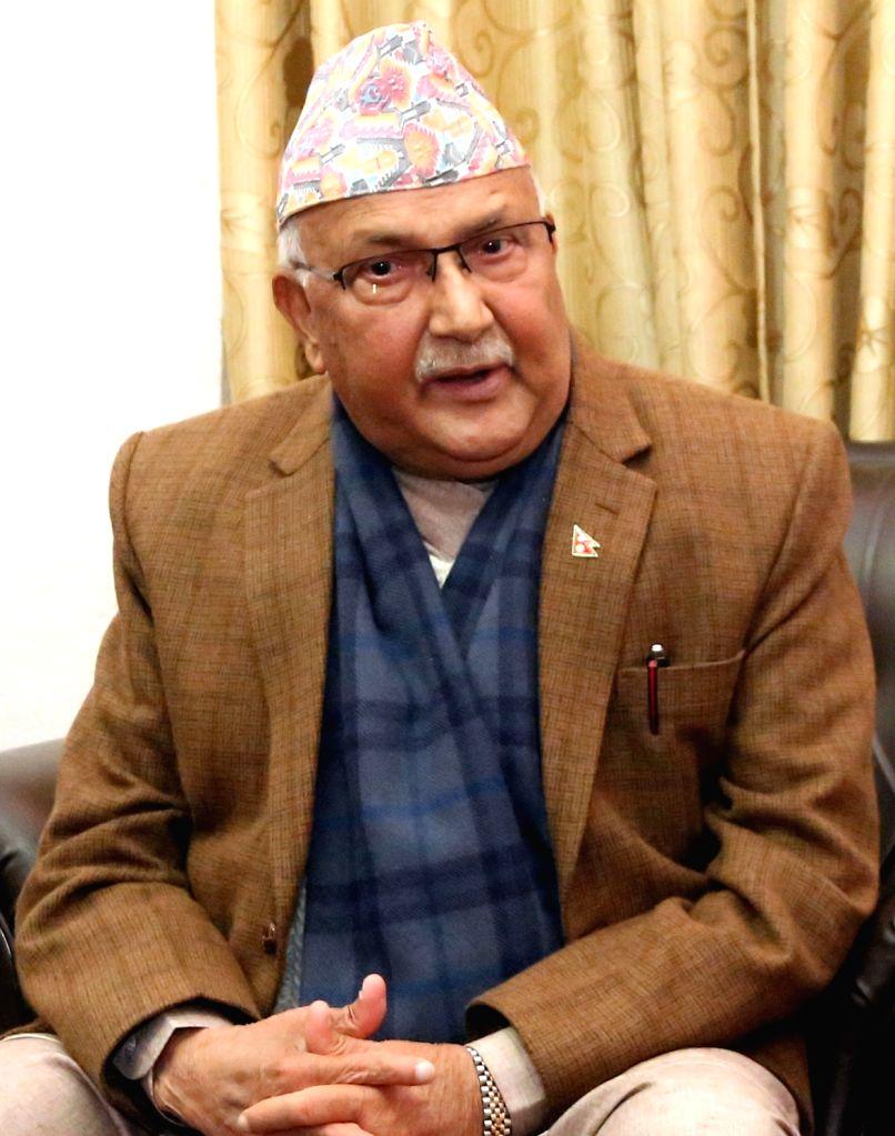 KATHMANDU, Feb. 15, 2018 - Chairman of the Communist Party of Nepal (Unified Marxist-Leninist) (CPN-UML) KP Sharma Oli talks in an exclusive interview with Xinhua in Kathmandu, Nepal, on Feb. 13, ...