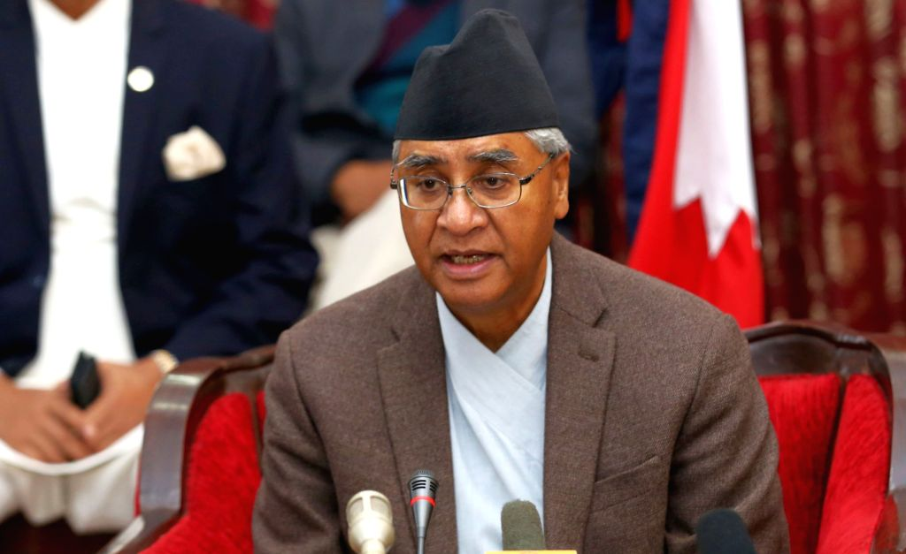 KATHMANDU, Feb. 15, 2018 - Nepalese Prime Minister Sher Bahadur Deuba announces his resignation at the Prime Minister's residence in Kathmandu, capital of Nepal, Feb. 15, 2018. Nepali Prime Minister ... - Sher Bahadur Deuba