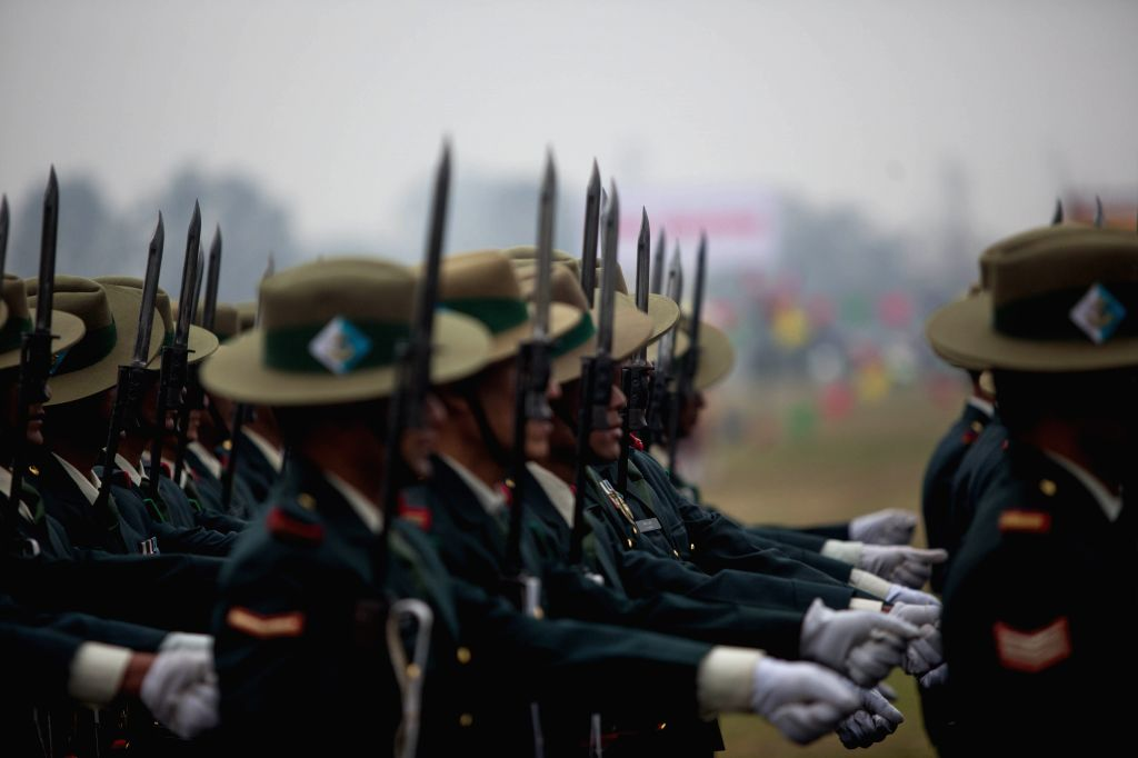 KATHMANDU, Feb. 19, 2019 - Nepal Army personnel march in a parade during the National Democracy Day celebration at Tundikhel in Kathmandu, Nepal, Feb. 19, 2019. Nepal's 69th National Democracy Day ...