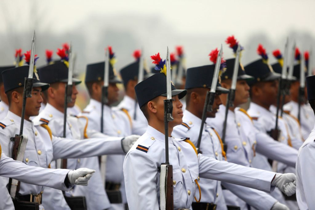 KATHMANDU, Feb. 19, 2019 - Nepal Police personnel march in a parade during the National Democracy Day celebration at Tundikhel in Kathmandu, Nepal, Feb. 19, 2019. Nepal's 69th National Democracy Day ...