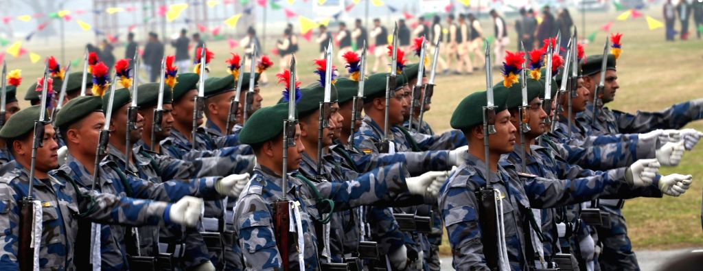 KATHMANDU, Feb. 19, 2019 - Nepalese police officers march in a parade during the National Democracy Day celebration at Tundikhel in Kathmandu, Nepal, on Feb. 19, 2019. Nepal's 69th National Democracy ...