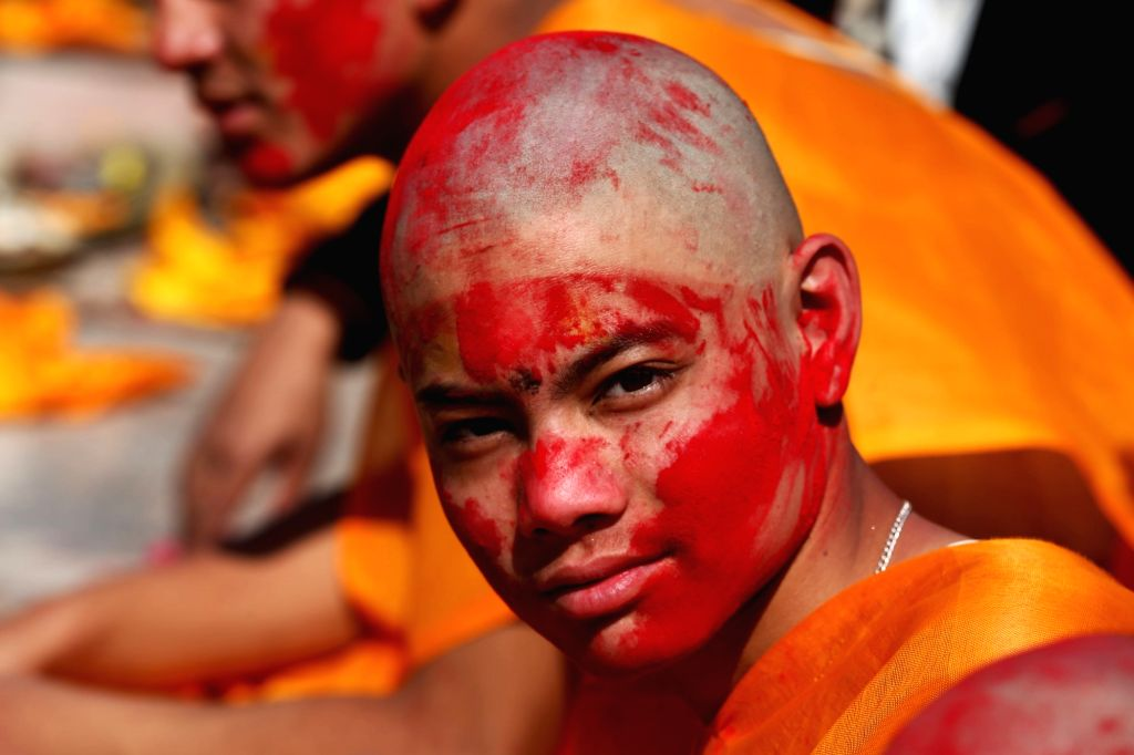 KATHMANDU, Feb. 22, 2019 - A Hindu boy attends a religious ritual during the Bratabandha ceremony in Kathmandu, Nepal, Feb. 21, 2019. As a tradition, Nepalese Hindu young boys shaved their heads ...