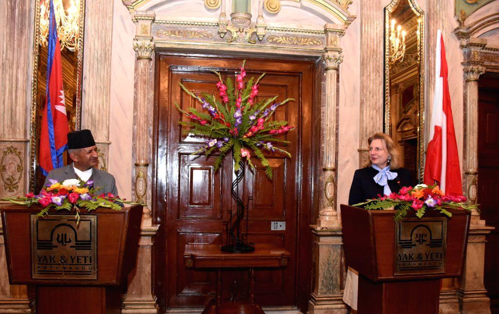 KATHMANDU, Feb. 22, 2019 - Nepalese Foreign Minister Pradeep Kumar Gyawali (L) and Austrian Foreign Minister Karin Kneissl attend a press conference after the bilateral talks in Kathmandu, Nepal, ... - Pradeep Kumar Gyawali