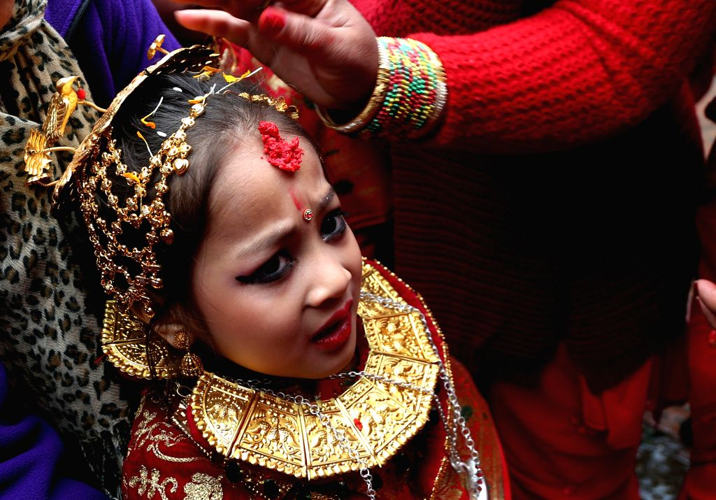 KATHMANDU, Feb. 9, 2019 - A girl from Newar community attends a Bel Bibaha ceremony in Kathmandu, capital of Nepal, Feb. 9, 2019. Bel Bibaha, or Ihi, is a marriage ceremony in the Newar community of ...