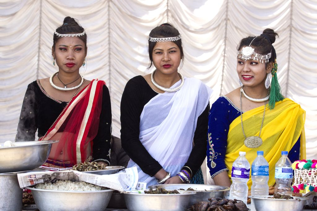 KATHMANDU, Jan. 14, 2017 - Nepalese women from Tharu community in traditional attires participate in a celebration marking the Maghe Sankranti in Kathmandu, Nepal, Jan. 14, 2017. Maghe Sankranti, ...