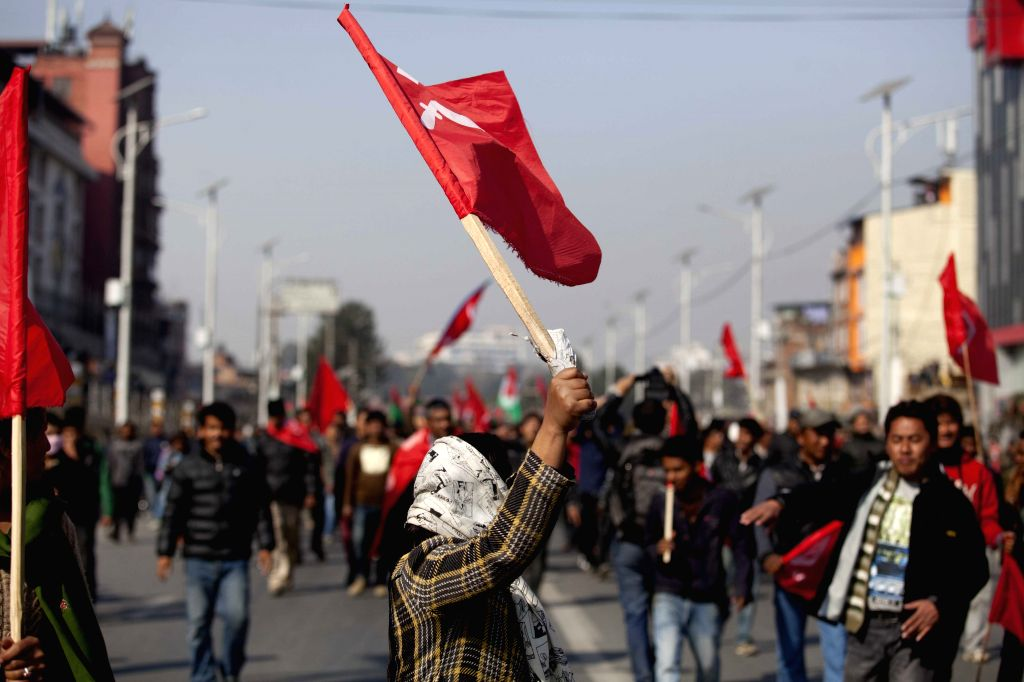 Protesters participate in a strike called by 30-party alliance in Kathmandu, Nepal, Jan. 20, 2015. Confrontation between ruling and opposition parties in Nepal is