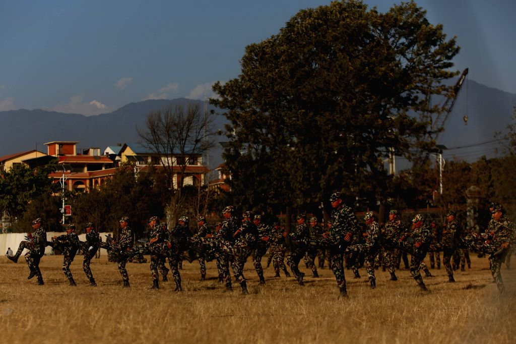 KATHMANDU, Jan. 25, 2019 - Nepalese Army  soldiers practice a parade for the upcoming Maha Shivaratri Festival in Kathmandu, Nepal, Jan. 24, 2019. Maha Shivaratri is one of the major festivals of ...