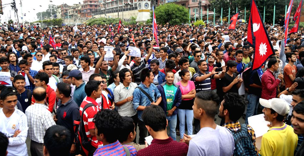 KATHMANDU, July 15, 2016 - Nepalese youths gather in support of Prime Minister KP Oli and against the decision made by CPN (Maoist-Centre) to withdraw the support from government in Kathmandu, Nepal ... - K