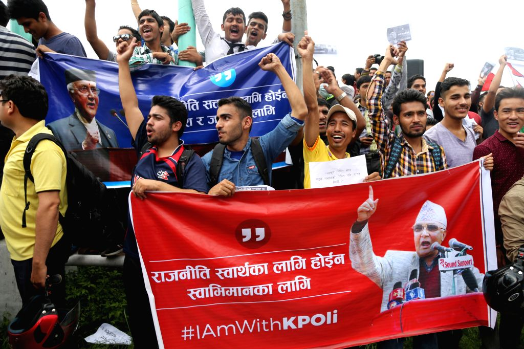 KATHMANDU, July 15, 2016 - Nepalese youths gathered in support of prime minister KP Oli and against the decision made by CPN (Maoist-Centre) to withdraw the support from government in Kathmandu, ... - K