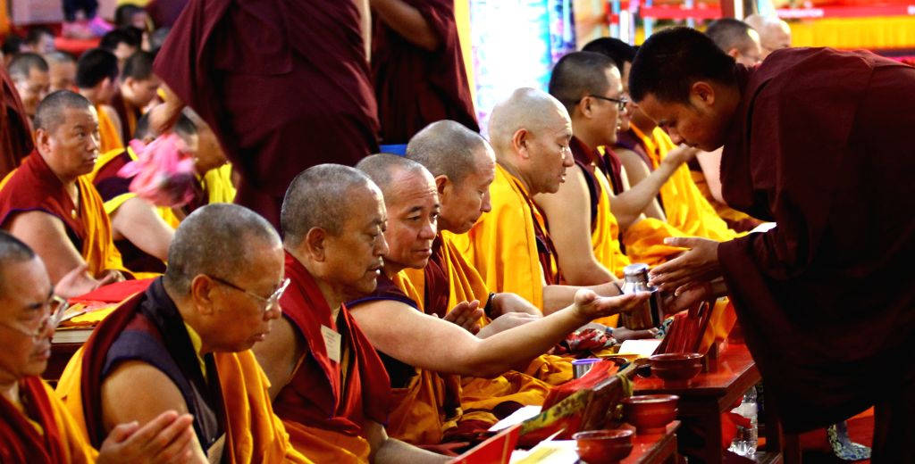 Buddhist monks offer prayers in remembrance of Shamar Rinpoche at Sharminub Monastery in Kathmandu, Nepal, July 20, 2014. Nepalese government retracted its ...