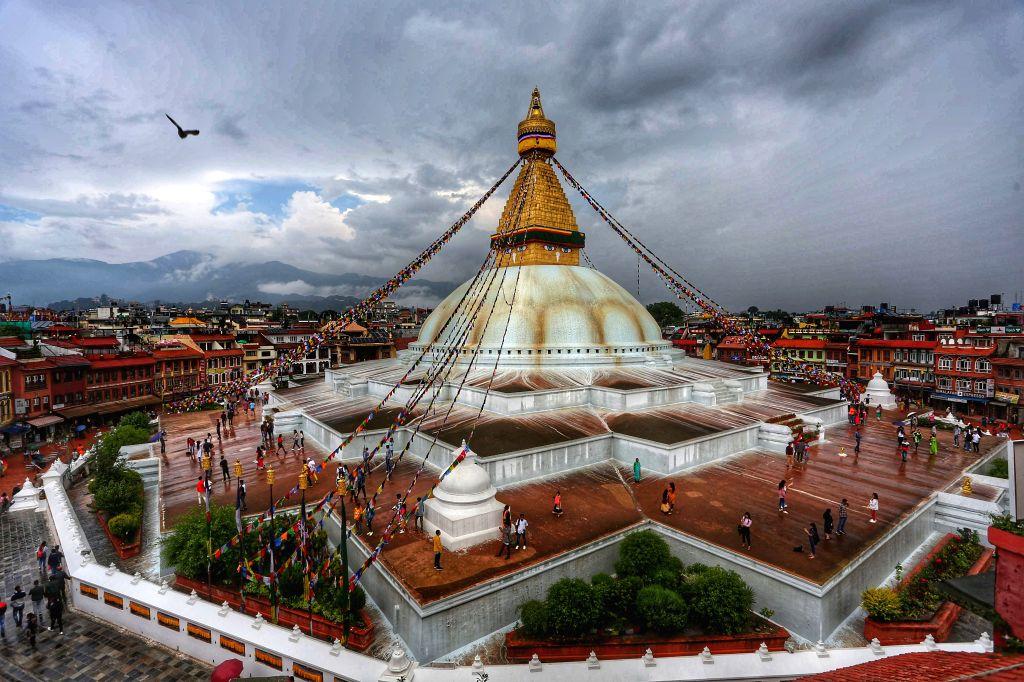 KATHMANDU, July 21, 2019 - People visit the Boudhanath Stupa World Heritage Site in Kathmandu, Nepal, July 20, 2019.