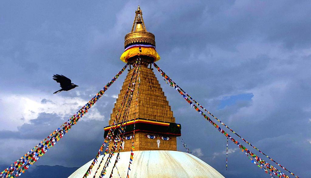 KATHMANDU, July 21, 2019 - Photo shows the top of the Boudhanath Stupa World Heritage Site in Kathmandu, Nepal, July 20, 2019.