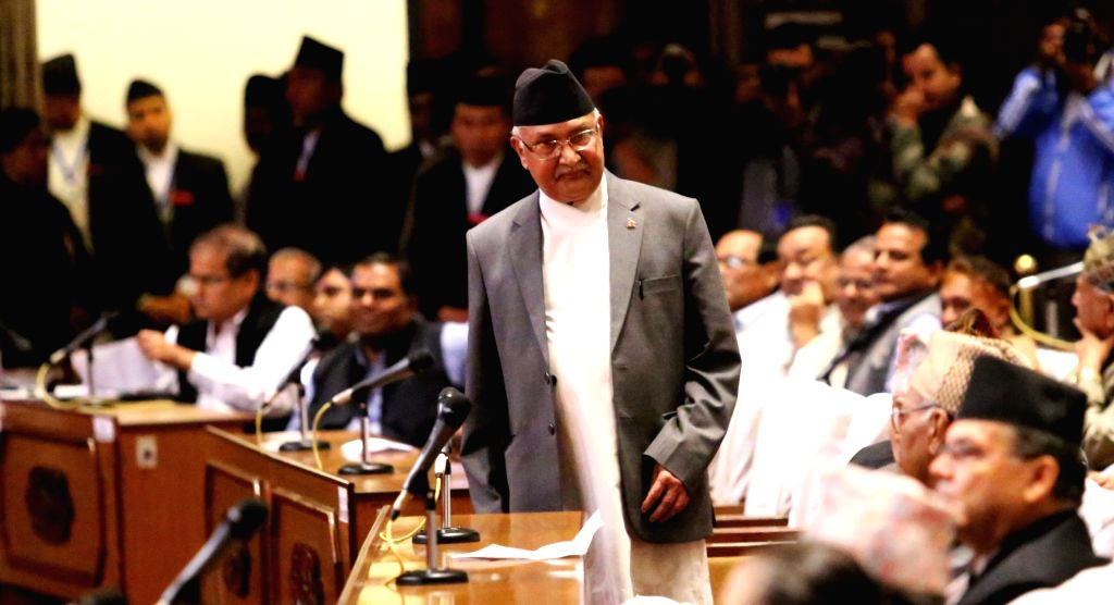 KATHMANDU, July 23, 2016 - Nepalese Prime Minister KP Sharma Oli(C) arrives during the discussion of the no-confidence motion filed against Prime Minister in the parliament in Kathmandu, Nepal, July ... - K