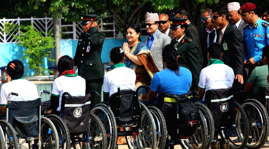 KATHMANDU, June 17, 2016 - Nepalese President Bidya Devi Bhandari (5th L) arrives to inaugurate the 4th National Disabled Swimming Competition and Awareness Program organized by Nepal Spinal Cord ...