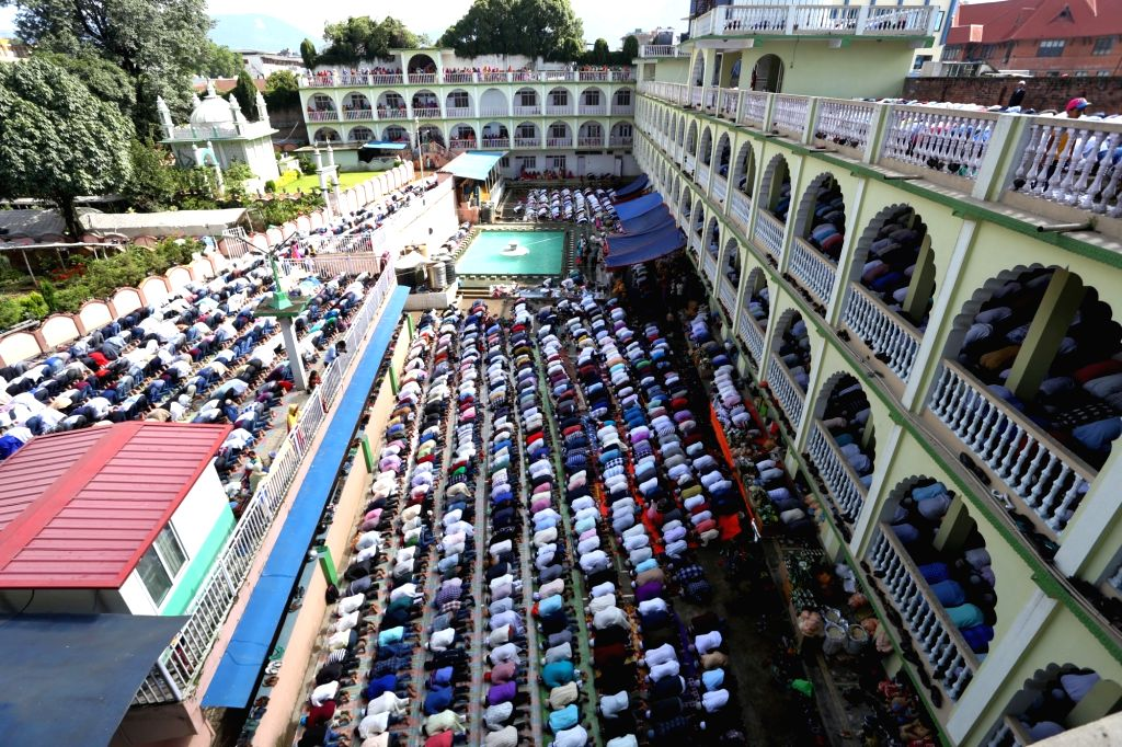 KATHMANDU, June 26, 2017 - Muslims pray during Eid al-Fitr festival at Kashmiri Mosque in Kathmandu, Nepal on June 26, 2017. Eid al-Fitr festival marks the end of the Islamic Holy month of Ramadan.