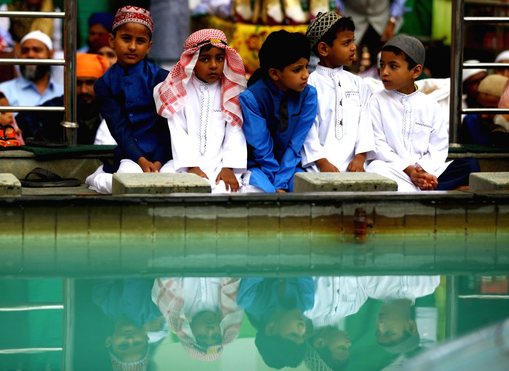 KATHMANDU, June 5, 2019 - Muslim kids attend a mass prayer during Eid al-Fitr celebrations at Kashmere Mosque in Kathmandu, Nepal, June 5, 2019.