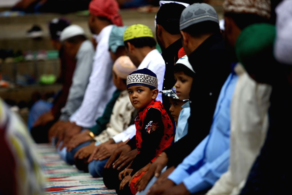 KATHMANDU, June 5, 2019 - Muslims attend a mass prayer during Eid al-Fitr celebrations at Kashmere Mosque in Kathmandu, Nepal, June 5, 2019.