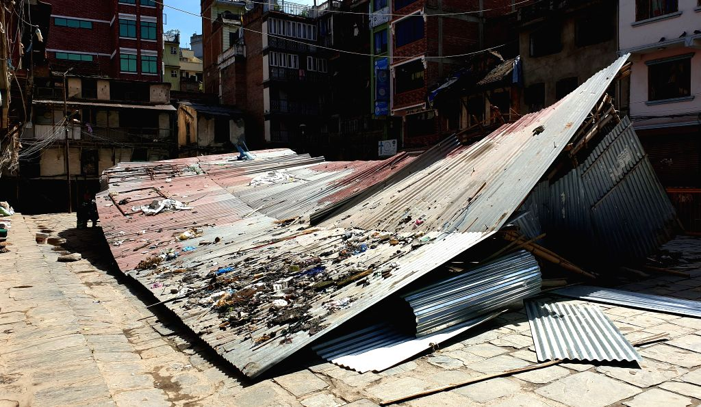 KATHMANDU, June 7, 2019 - Photo shows a storm-damaged makeshift house in Kathmandu, Nepal, June 7, 2019. At least one person was killed and 37 others were injured when a strong storm hit several ...