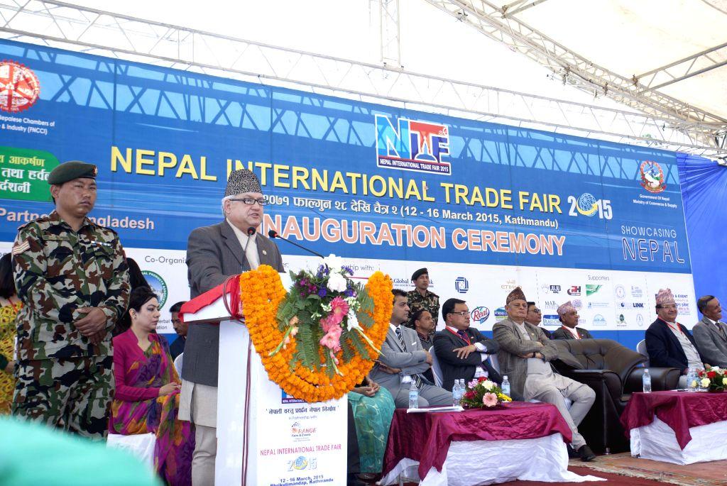 Nepal's Minister of Commerce and Supplies Sunil Bahadur Thapa addresses the inauguration ceremony of the Nepal International Trade Fair in Kathmandu, Nepal, ...