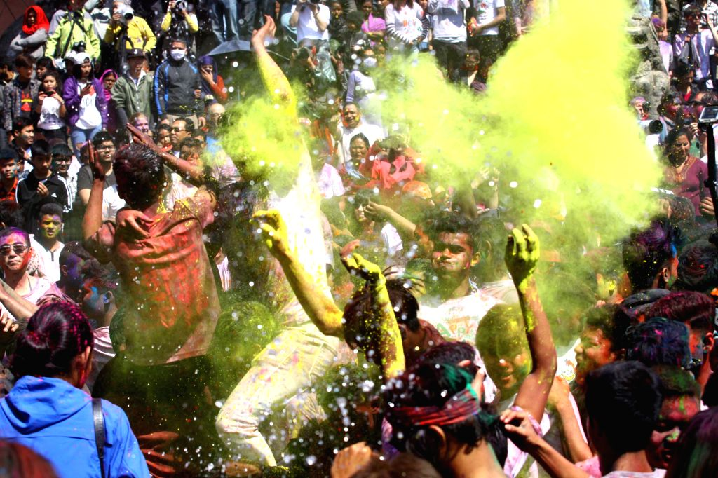 """KATHMANDU, March 12, 2017 - Nepalese people celebrate holi festival in Kathmandu, Nepal on March 12, 2017. Holi is a Hindu festival also known as the """"festival of colors"""", which signifies ..."""