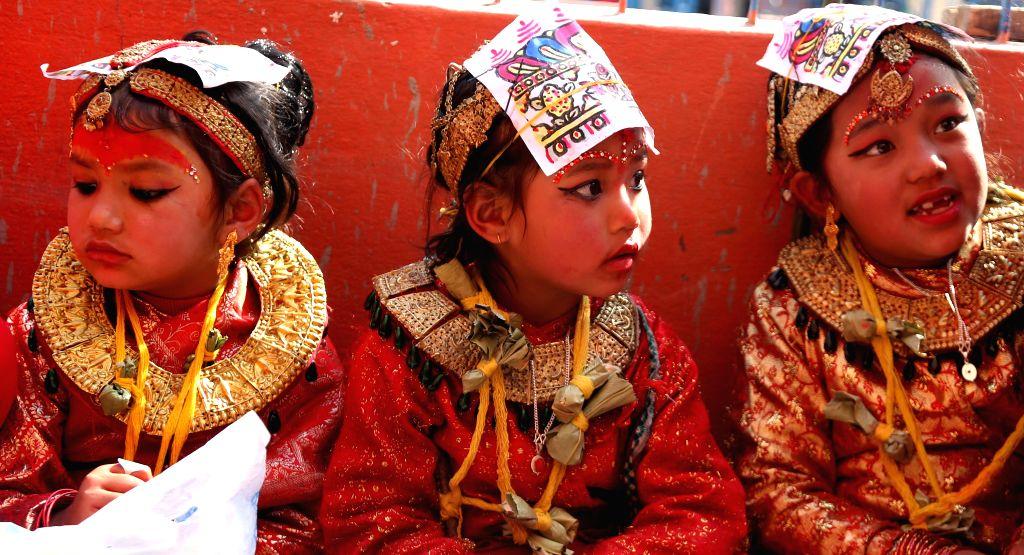 KATHMANDU, March 15, 2017 - Little girls from Newar community attend a Bel Bibaha ceremony in Kavre,on the outskirts of Kathmandu,capital of Nepal, March 15, 2017. Bel Bibaha, or Ihi, is a marriage ...