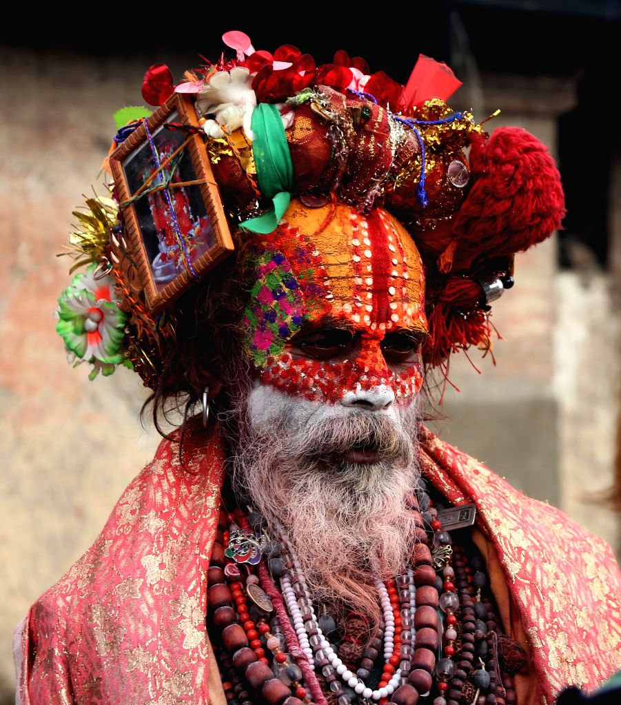 KATHMANDU, March 3, 2019 - A holy man (Sadhu) is seen at Pashupatinath Temple on the eve of Maha Shivaratri festival in Kathmandu, Nepal, March 3, 2019. Maha Shivaratri is celebrated annually in ...