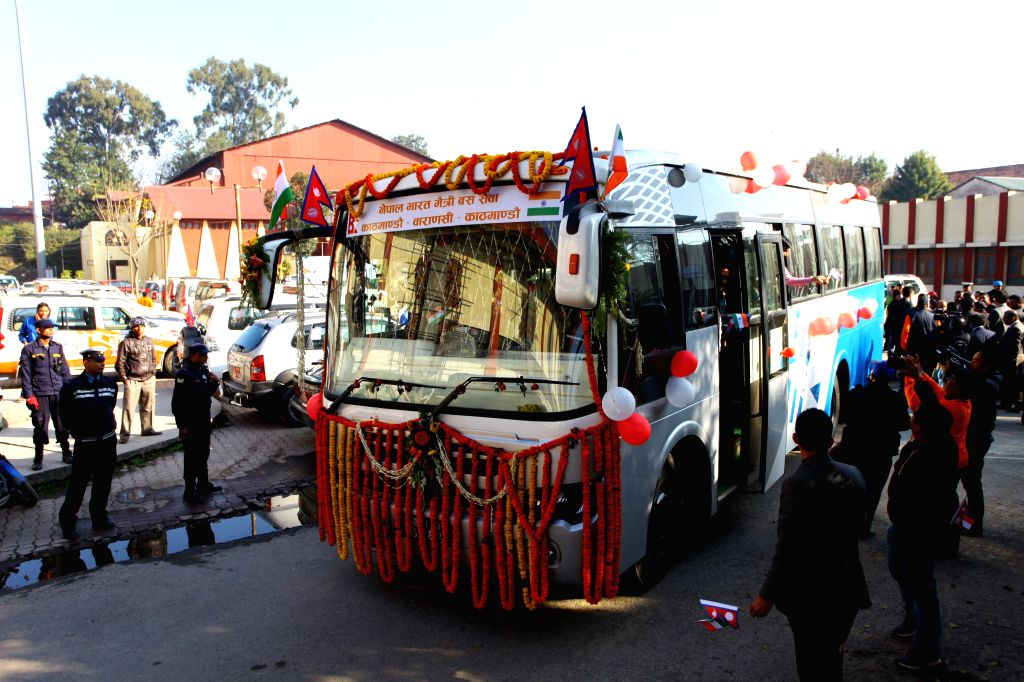 The first bus proceeding to Banaras is seen during the inauguration of Kathmandu-Banaras bus service in Kathmandu, Nepal, March 5, 2015. The bus service aimed at ...