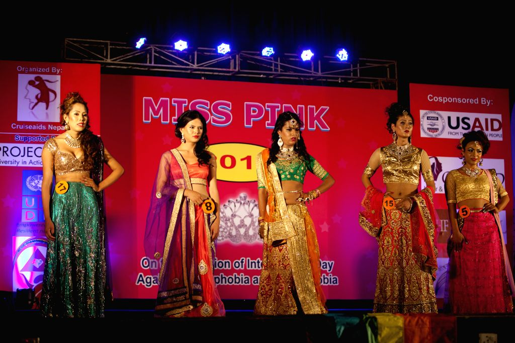 KATHMANDU, May 18, 2016 - Nepalese transgenders pose during the Miss Pink Beauty Pageant in Kathmandu, Nepal, May 17, 2016. A total of 18 transgender models from across the country participated in ...