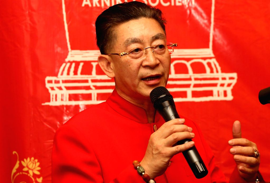 """KATHMANDU, May 19, 2016 - Chinese actor Liu Xiao Ling Tong, best known for his role as the Monkey King, addresses the audience during the first screening of popular Chinese TV series """"Xi You ... - Liu Xiao Ling Tong"""