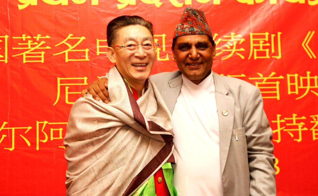 KATHMANDU, May 19, 2016 - Chinese actor Liu Xiao Ling Tong (L), best known for his role as the Monkey King, poses with Nepalese Minister for Culture?Tourism and Civil Aviation Ananda Prasad Pokharel ... - Liu Xiao Ling Tong