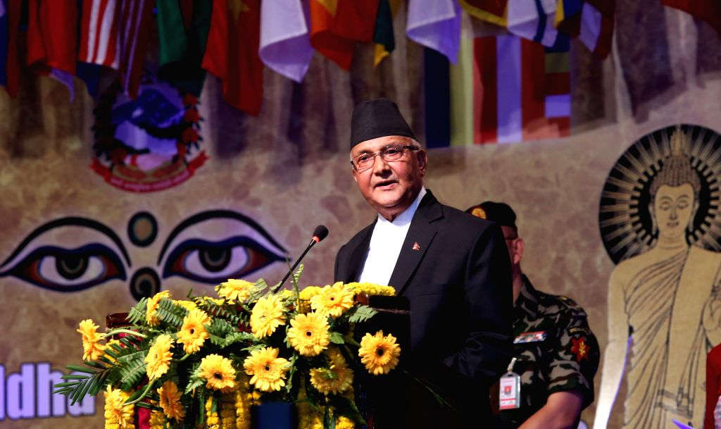 KATHMANDU, May 19, 2016 - Nepalese Prime Minister KP Sharma Oli addresses the inaugural session of the 2,560th Buddha Jayanti Celebration and the International Buddhist Conference in Kathmandu, ... - K
