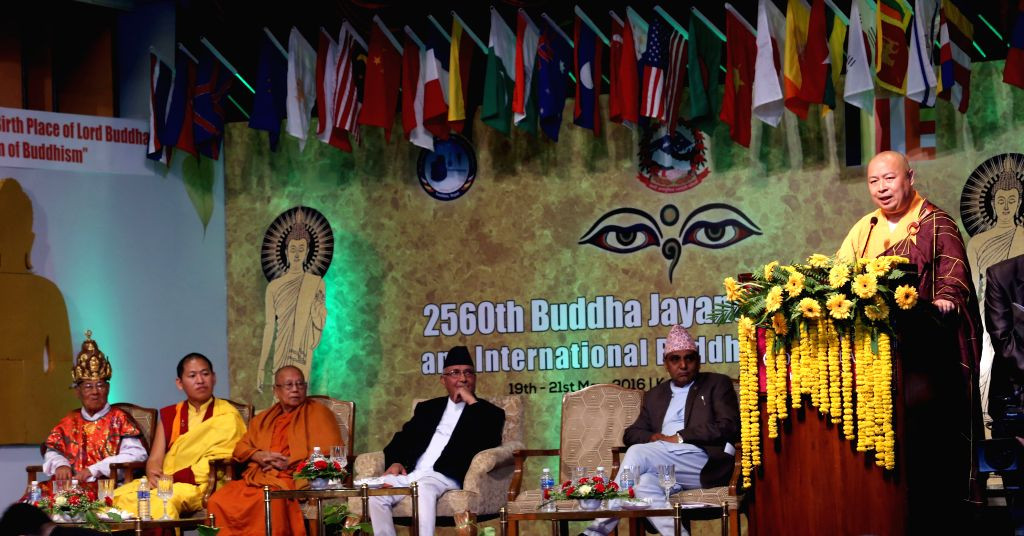 KATHMANDU, May 19, 2016 - Yin Shun, vice chairman of the Buddhist Association of China, addresses the inaugural session of the 2,560th Buddha Jayanti Celebration and the International Buddhist ... - K