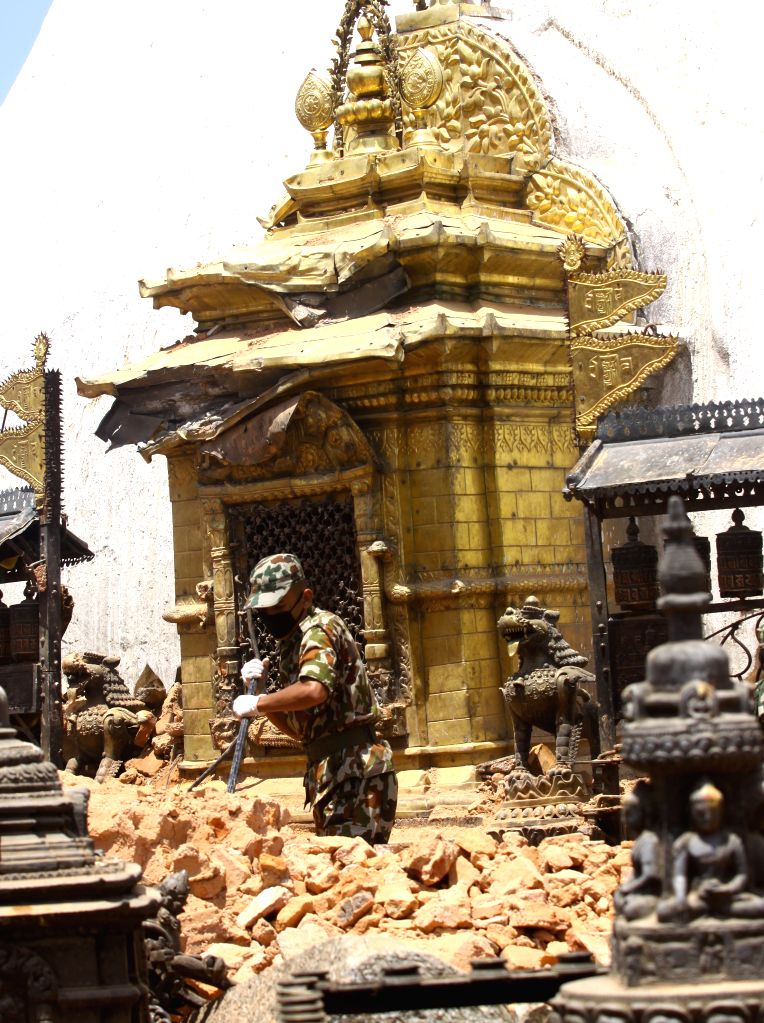 Nepal Army personnel clear the rubbles after a massive earthquake in Kathmandu, Nepal, May 2, 2015. The death toll from last Saturday's powerful earthquake in Nepal ...